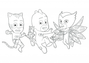Coloring page pj masks to print