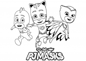 Coloring page pj masks for children