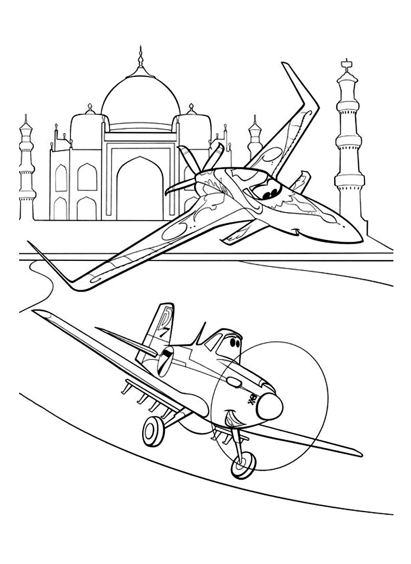 Free Planes coloring page to download
