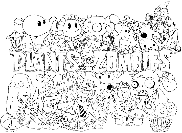Beautiful Plants Vs Zombies coloring page to print and color