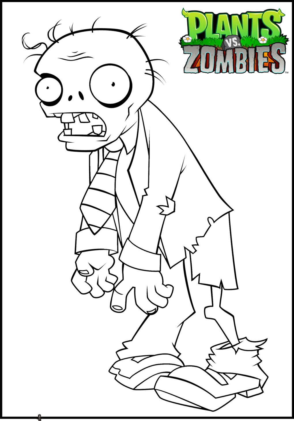 Free Plants Vs Zombies coloring page to print and color, for kids
