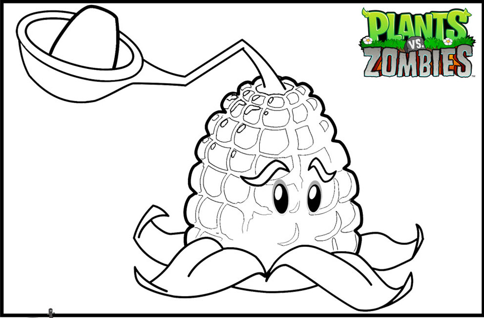 Easy free Plants Vs Zombies coloring page to download