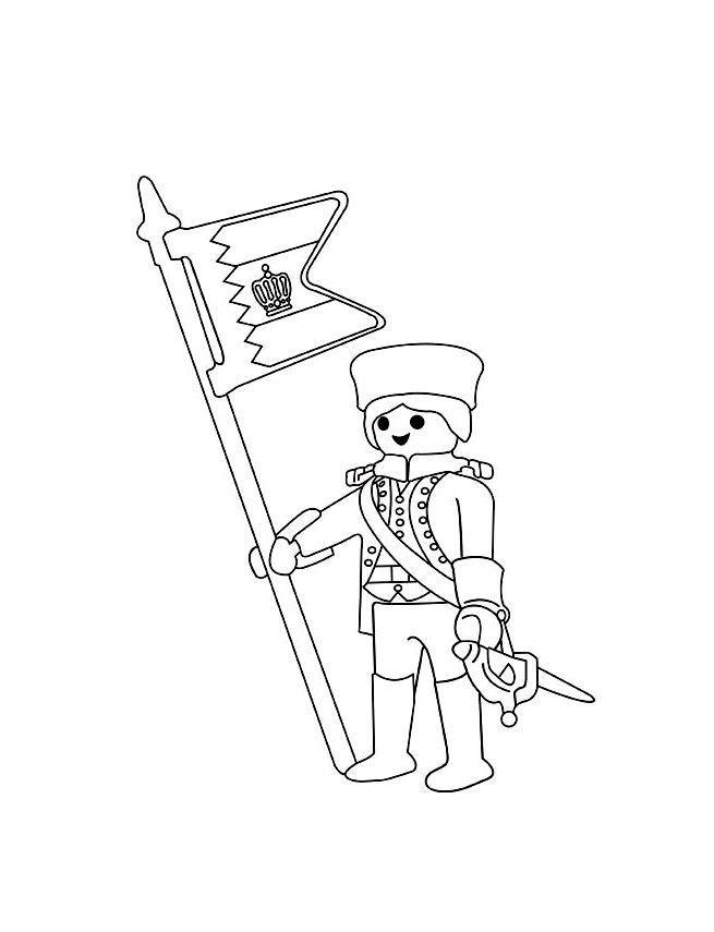 Free Playmobils coloring page to download, for children