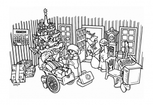Coloring page playmobils to color for children