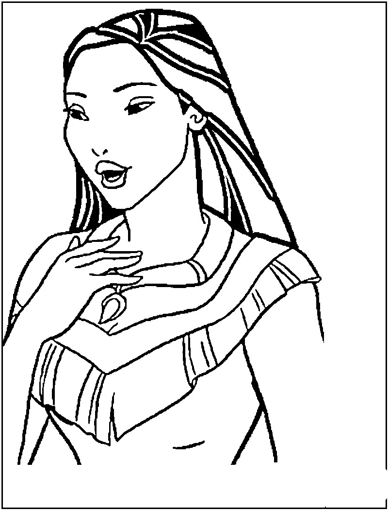 Pocahontas to color for children - Pocahontas Kids Coloring Pages