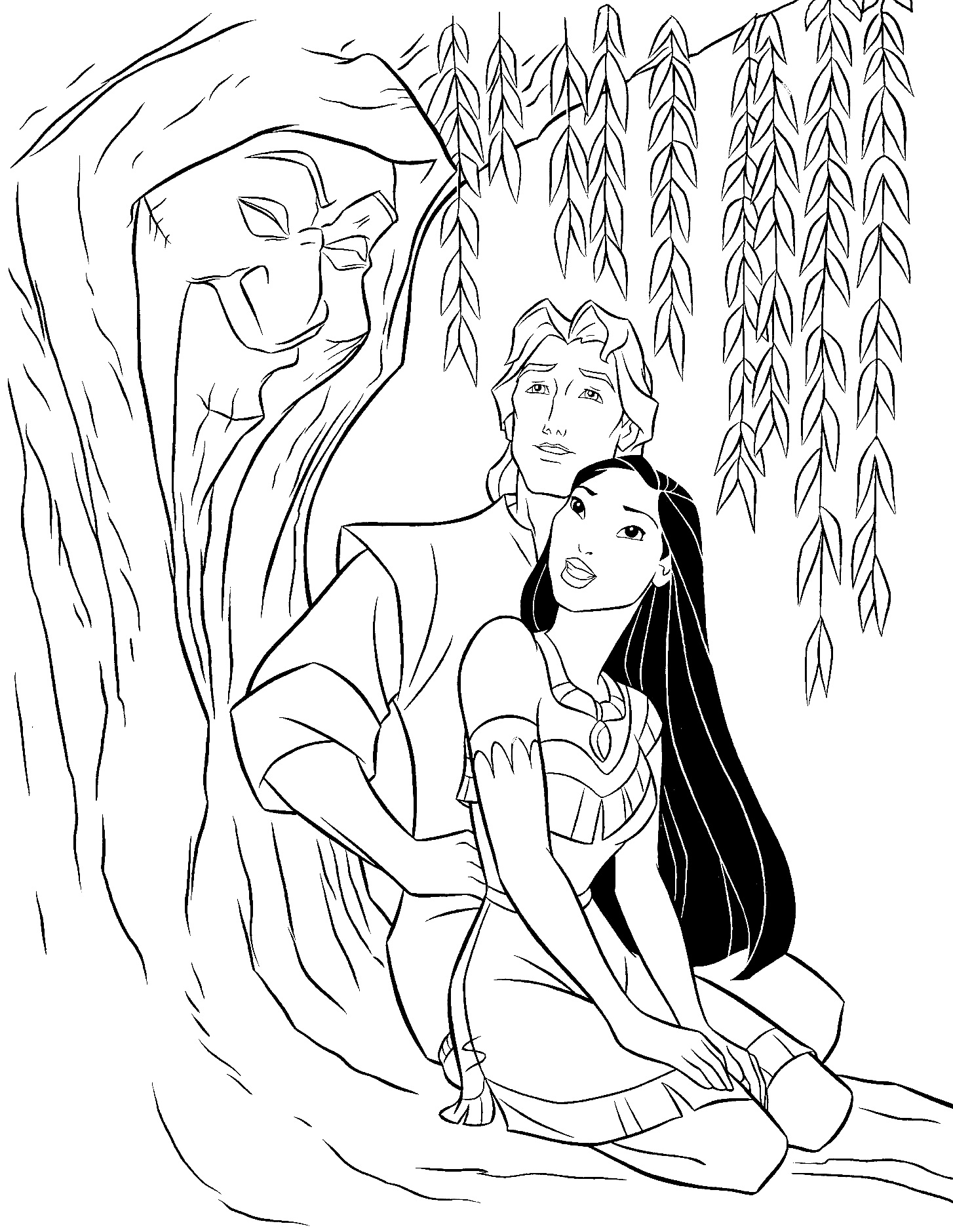 Simple free Pocahontas coloring page to print and color