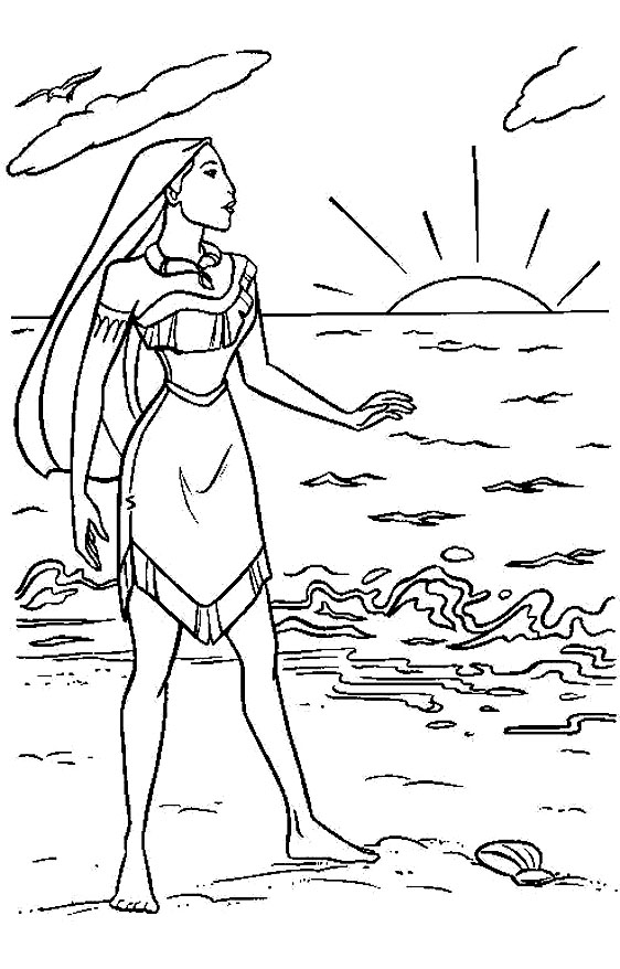 Walt Disney Coloring Pages - Pocahontas & Captain John Smith ... | 878x562