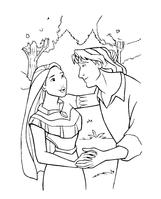 Simple Pocahontas coloring page for kids