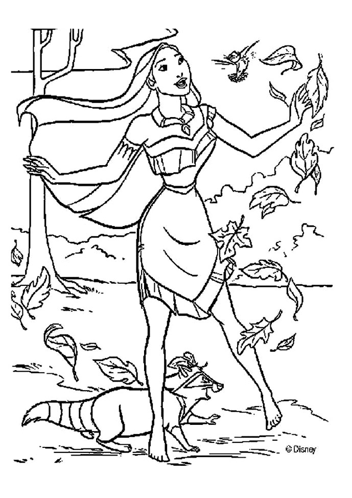 Free Pocahontas coloring page to download