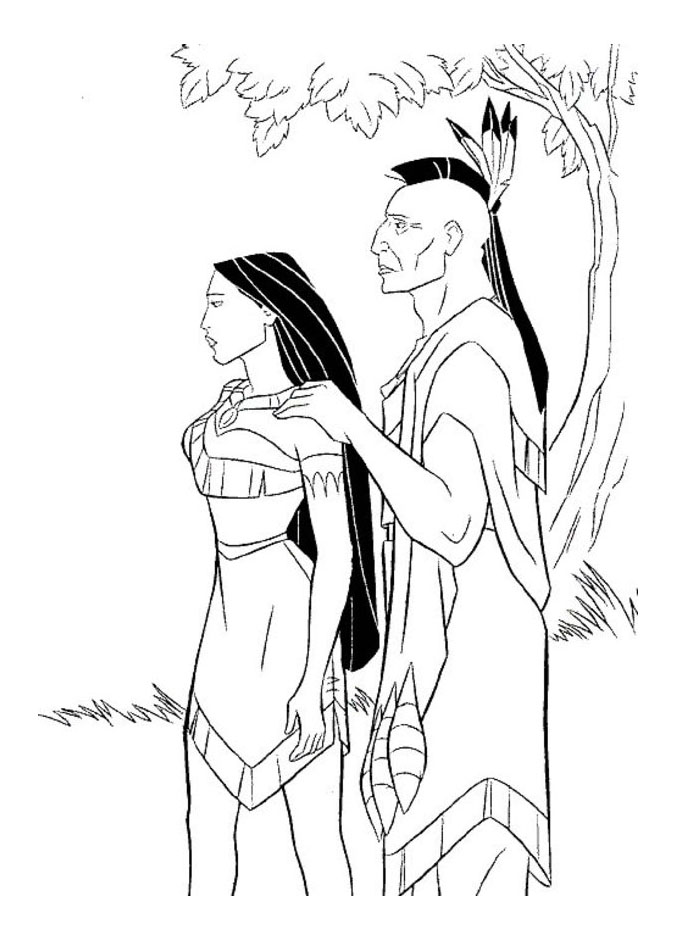 Pocahontas coloring page to print and color