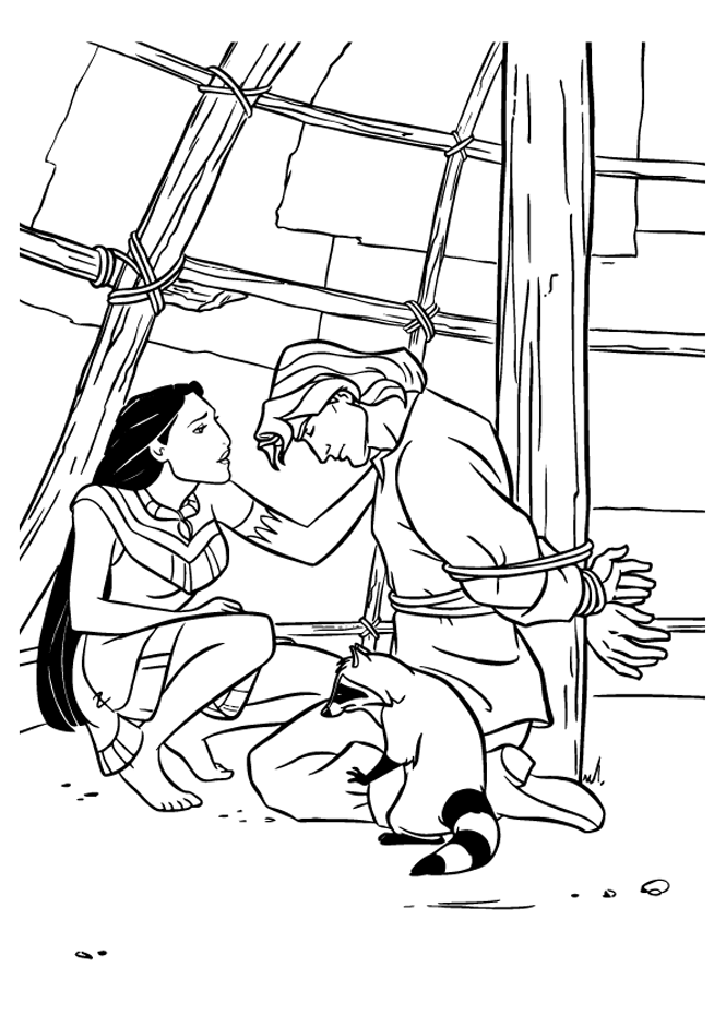 Pocahontas coloring page to print and color for free