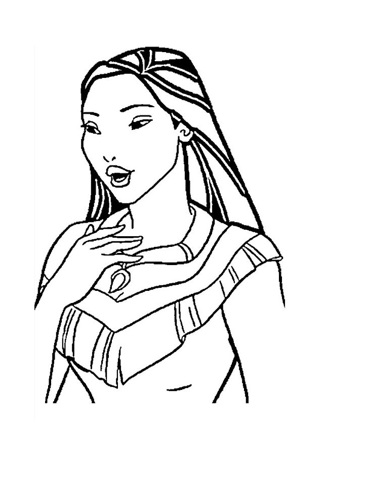 Simple Pocahontas coloring page to print and color for free