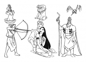 Coloring page pocahontas for kids