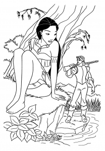 Coloring page pocahontas for children