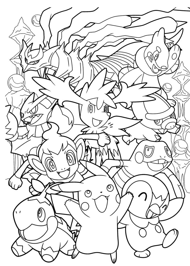 Pokemon coloring page with few details for kids