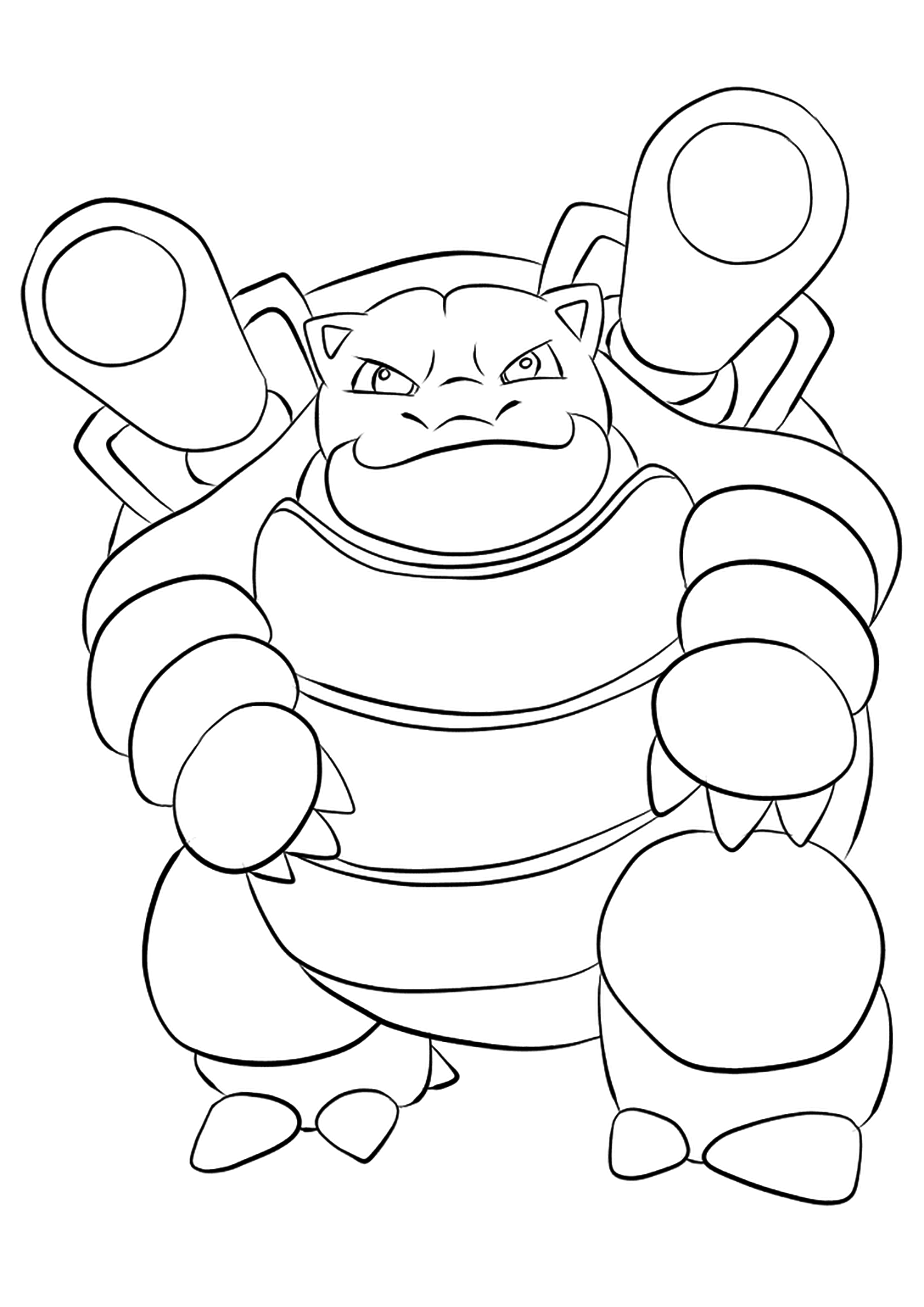 Blastoise (No.09)Blastoise Coloring page, Generation I Pokemon of type WaterOriginal image credit: Pokemon linearts by Lilly Gerbil'font-size:smaller;color:gray'>Permission: All rights reserved © Pokemon company and Ken Sugimori.