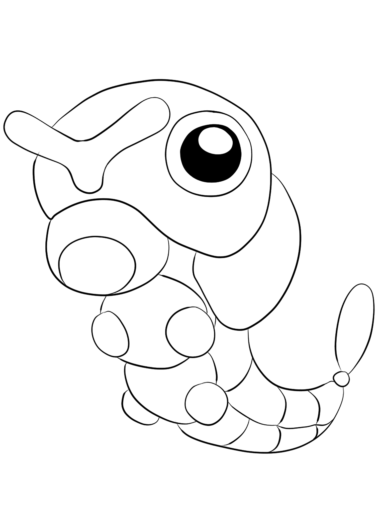 Caterpie (No.10)Caterpie Coloring page, Generation I Pokemon of type BugOriginal image credit: Pokemon linearts by Lilly Gerbil'font-size:smaller;color:gray'>Permission: All rights reserved © Pokemon company and Ken Sugimori.