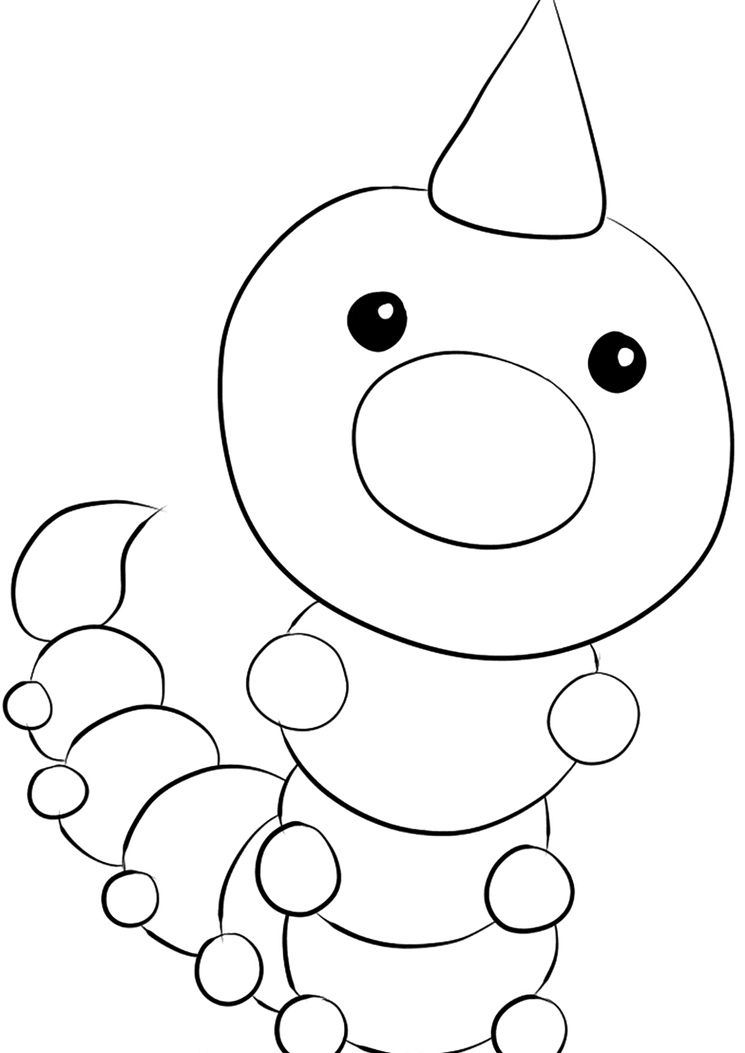 Weedle (No.13)Weedle Coloring page, Generation I Pokemon of type Bug and PoisonOriginal image credit: Pokemon linearts by Lilly Gerbil'font-size:smaller;color:gray'>Permission: All rights reserved © Pokemon company and Ken Sugimori.
