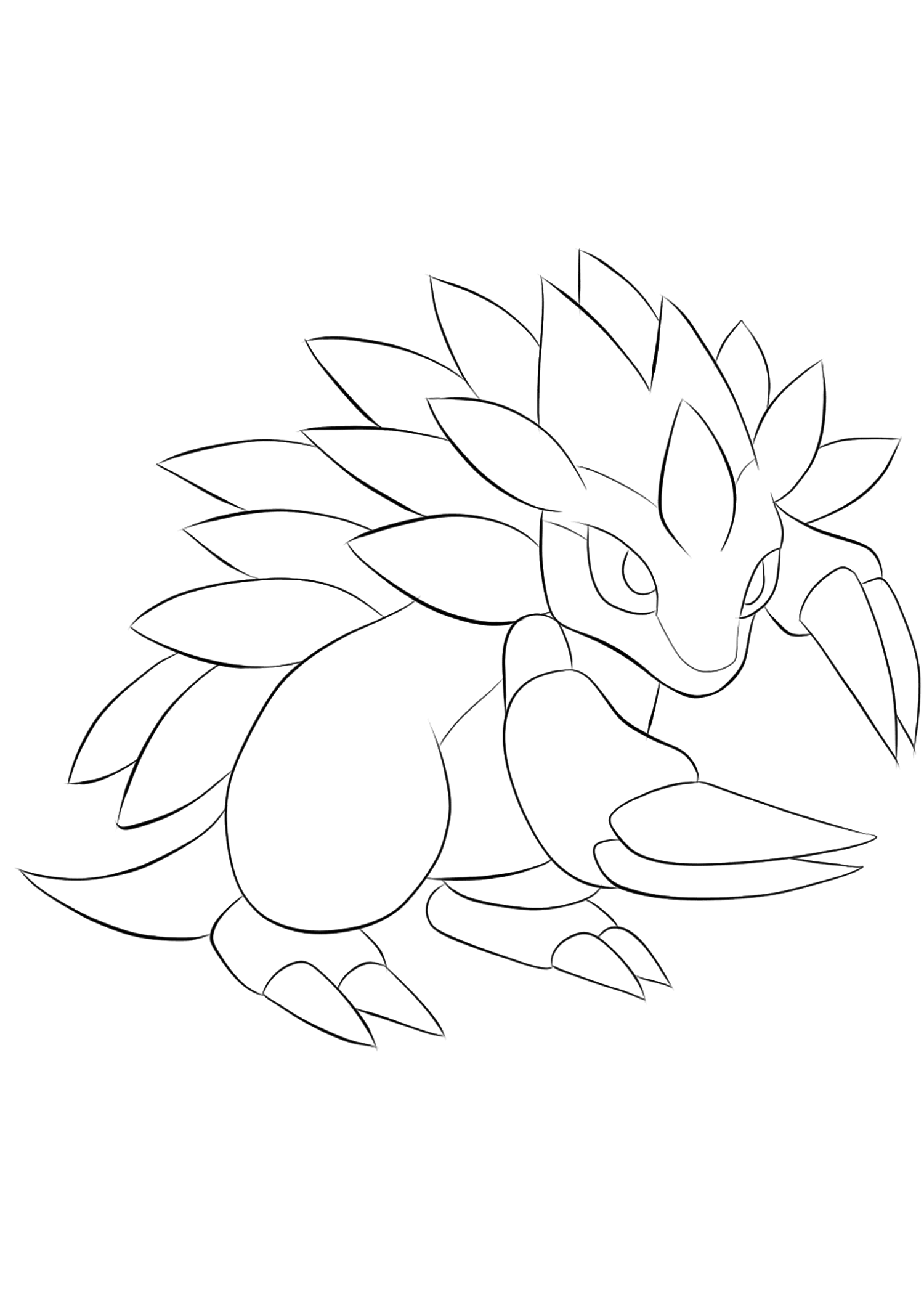 Sandslash (No.28)Sandslash Coloring page, Generation I Pokemon of type Ice and SteelOriginal image credit: Pokemon linearts by Lilly Gerbil'font-size:smaller;color:gray'>Permission: All rights reserved © Pokemon company and Ken Sugimori.
