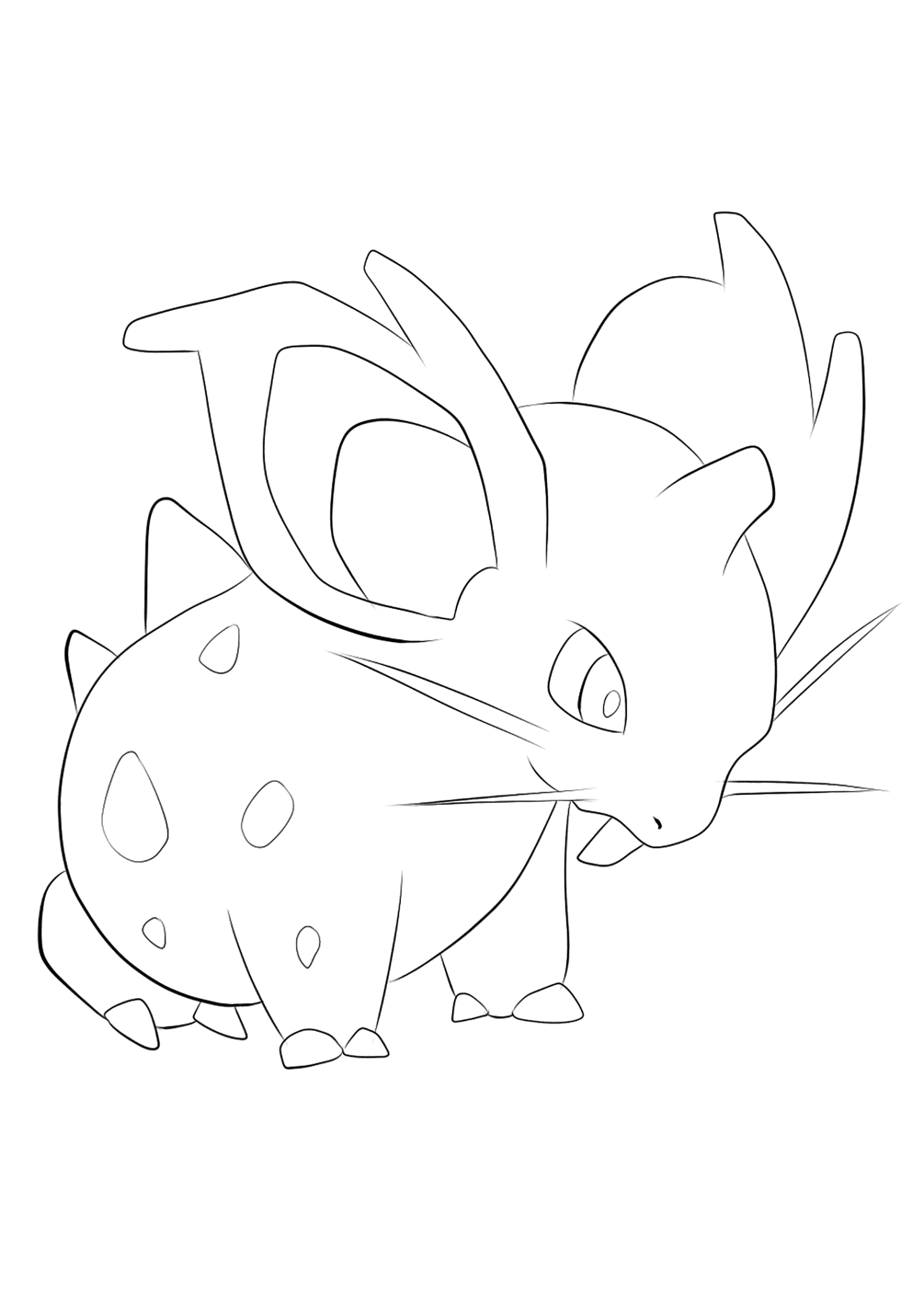 Nidoran? (No.29)Nidoran? Coloring page, Generation I Pokemon of type PoisonOriginal image credit: Pokemon linearts by Lilly Gerbil'font-size:smaller;color:gray'>Permission: All rights reserved © Pokemon company and Ken Sugimori.