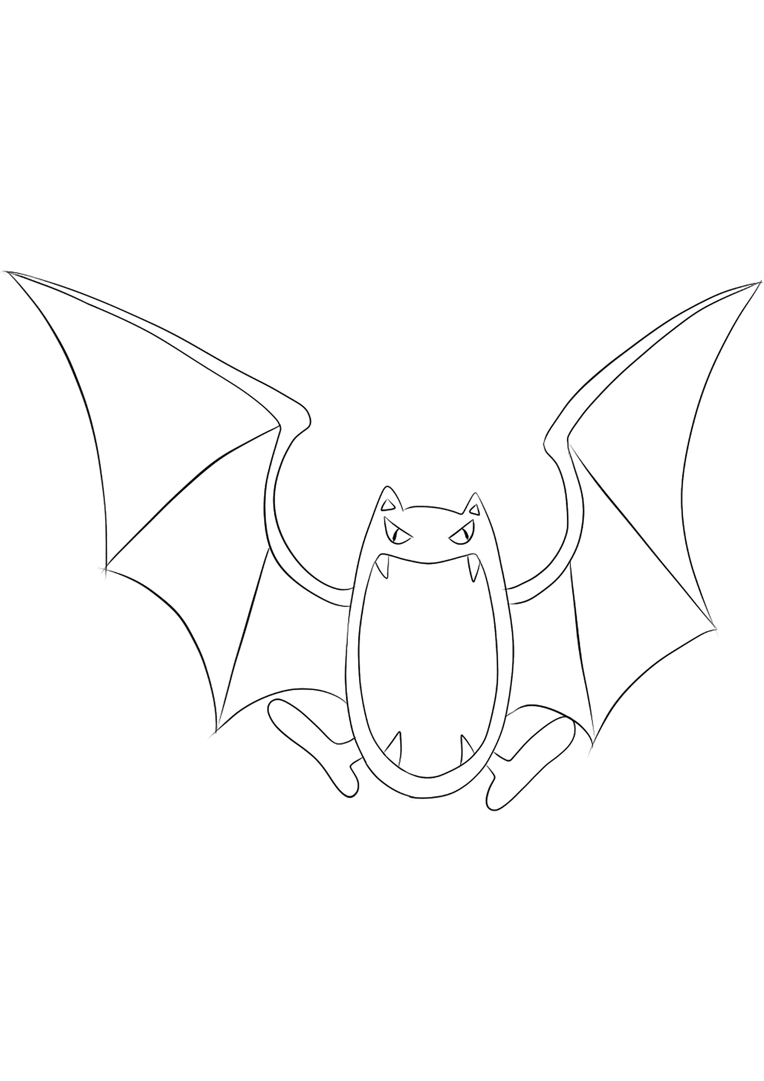 Golbat (No.42)Golbat Coloring page, Generation I Pokemon of type Poison and FlyingOriginal image credit: Pokemon linearts by Lilly Gerbil'font-size:smaller;color:gray'>Permission: All rights reserved © Pokemon company and Ken Sugimori.