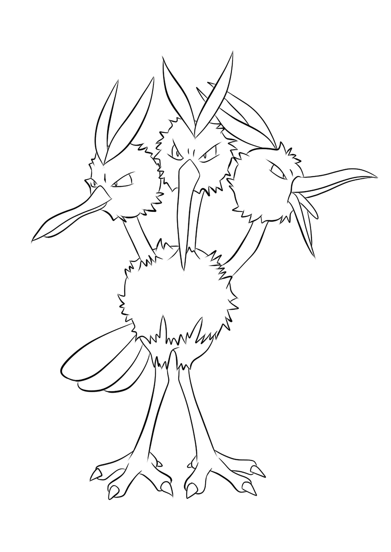 Dodrio (No.85)Dodrio Coloring page, Generation I Pokemon of type Normal and FlyingOriginal image credit: Pokemon linearts by Lilly Gerbil on Deviantart.Permission:  All rights reserved © Pokemon company and Ken Sugimori.