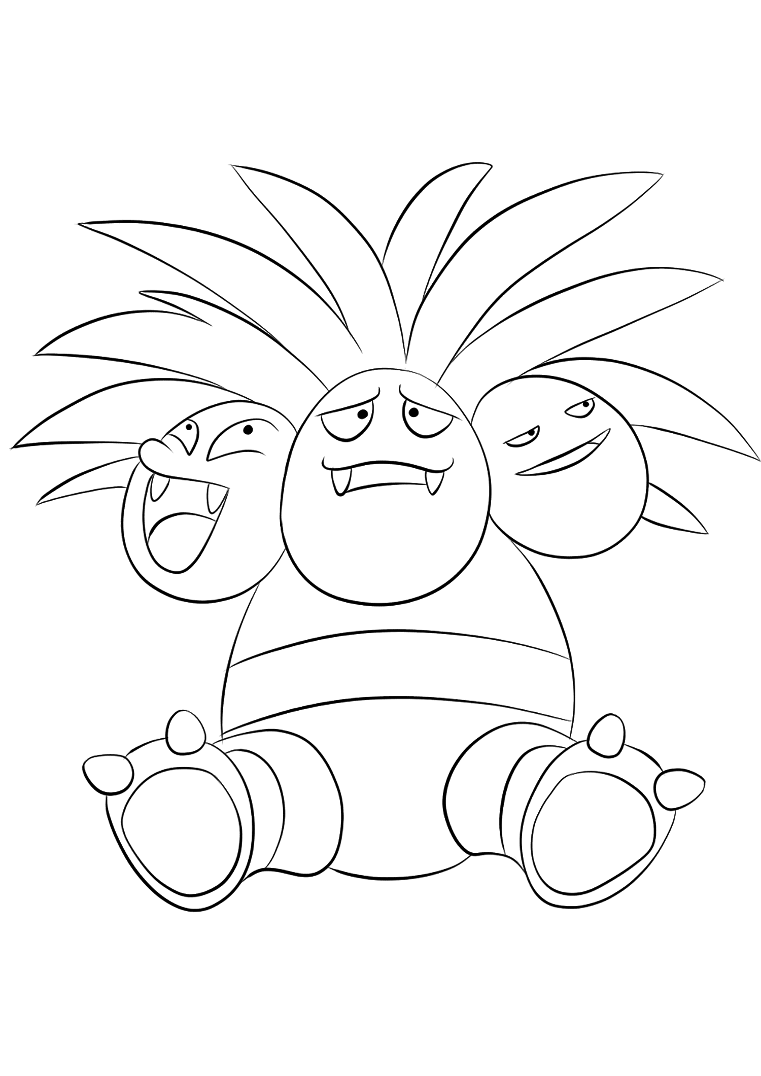 Exeggutor (No.103)Exeggutor Coloring page, Generation I Pokemon of type Grass and DragonOriginal image credit: Pokemon linearts by Lilly Gerbil on Deviantart.Permission:  All rights reserved © Pokemon company and Ken Sugimori.