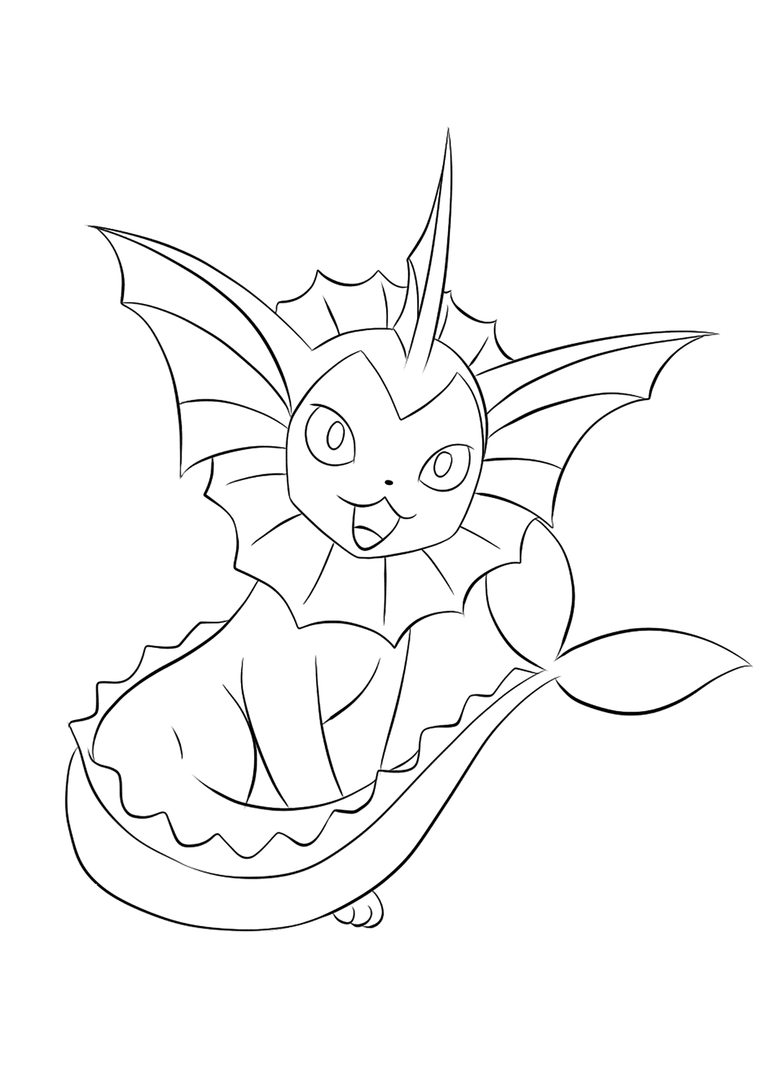 Vaporeon (No.134)Vaporeon Coloring page, Generation I Pokemon of type WaterOriginal image credit: Pokemon linearts by Lilly Gerbil on Deviantart.Permission:  All rights reserved © Pokemon company and Ken Sugimori.