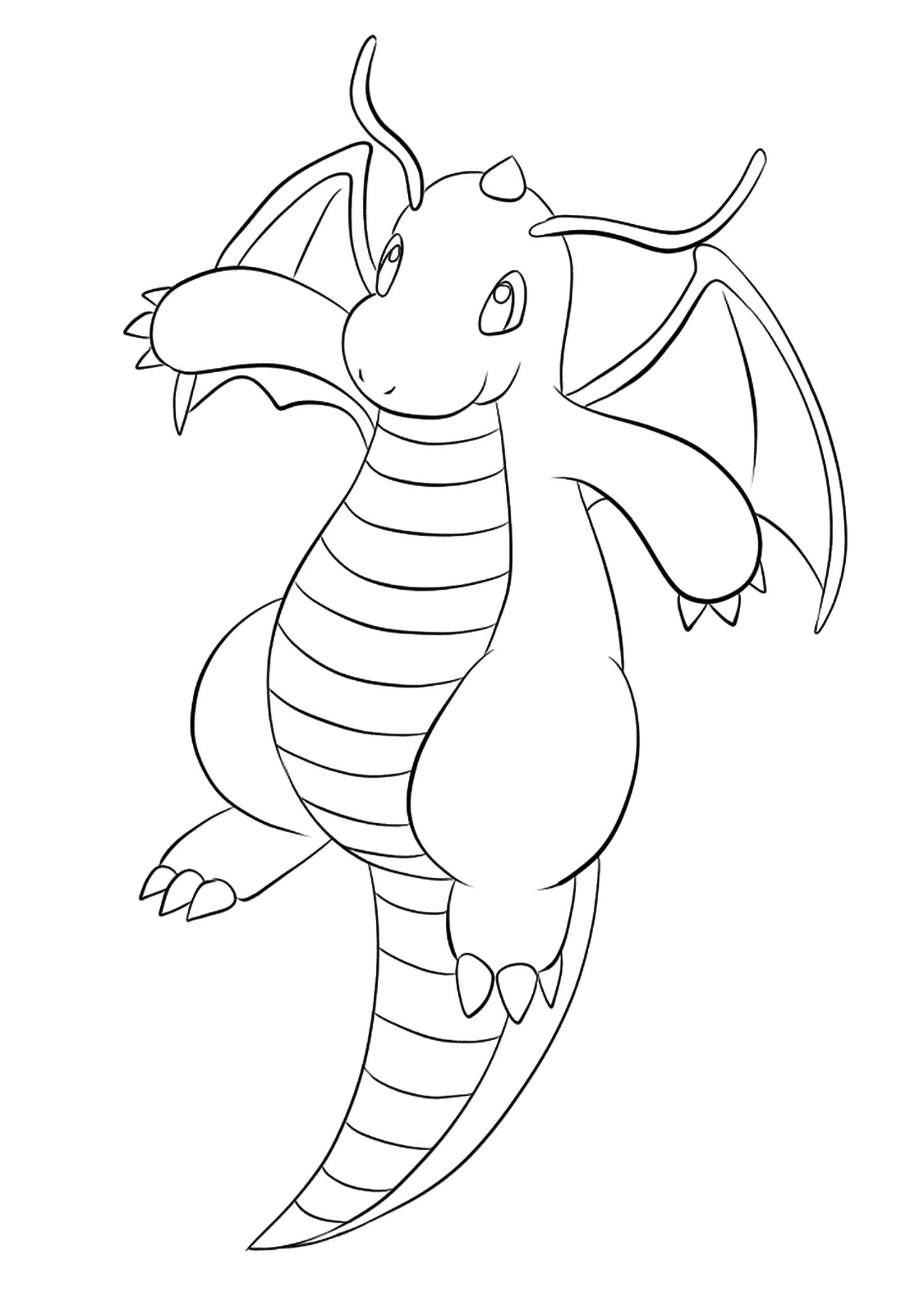 Dragonite (No.149)Dragonite Coloring page, Generation I Pokemon of type Dragon and FlyingOriginal image credit: Pokemon linearts by Lilly Gerbil on Deviantart.Permission:  All rights reserved © Pokemon company and Ken Sugimori.