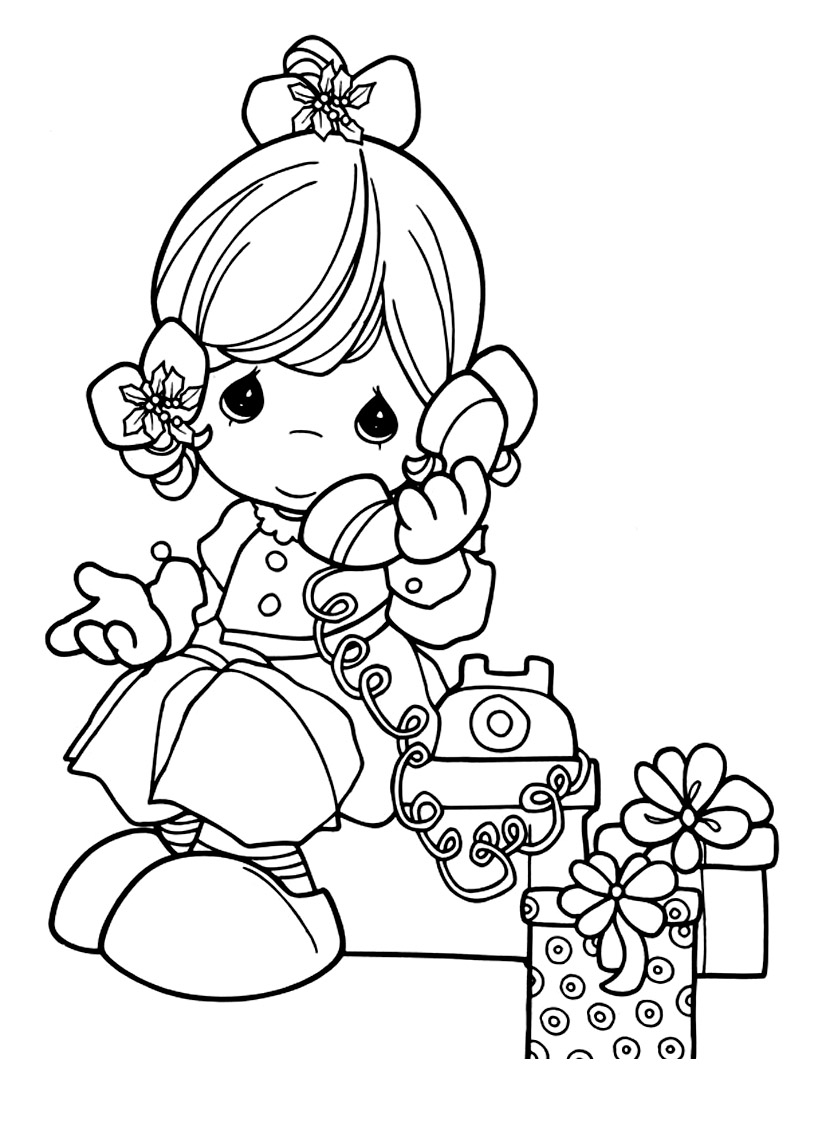 Simple Precious Time coloring page for kids