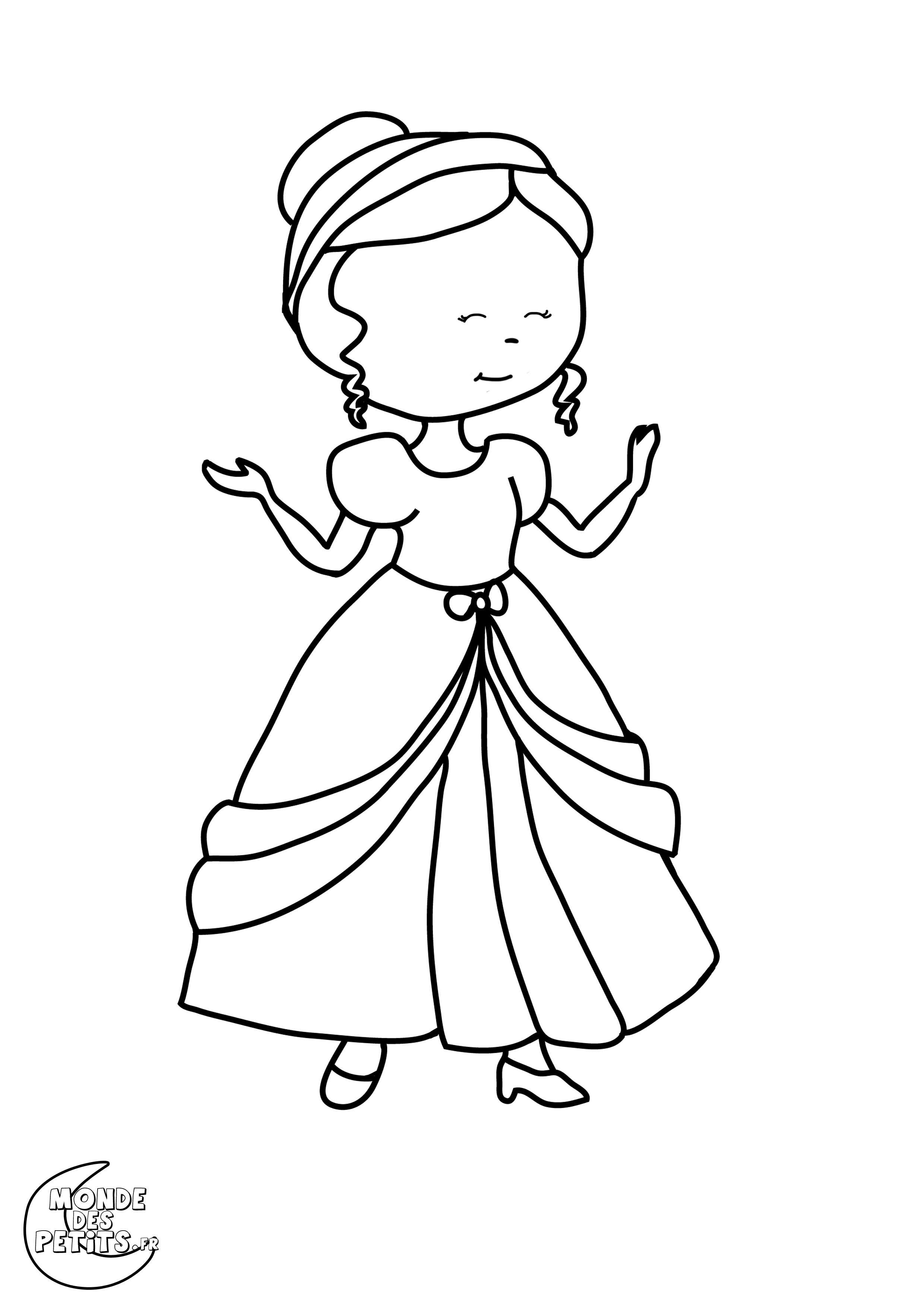 Free Princesses coloring page to print and color, for kids