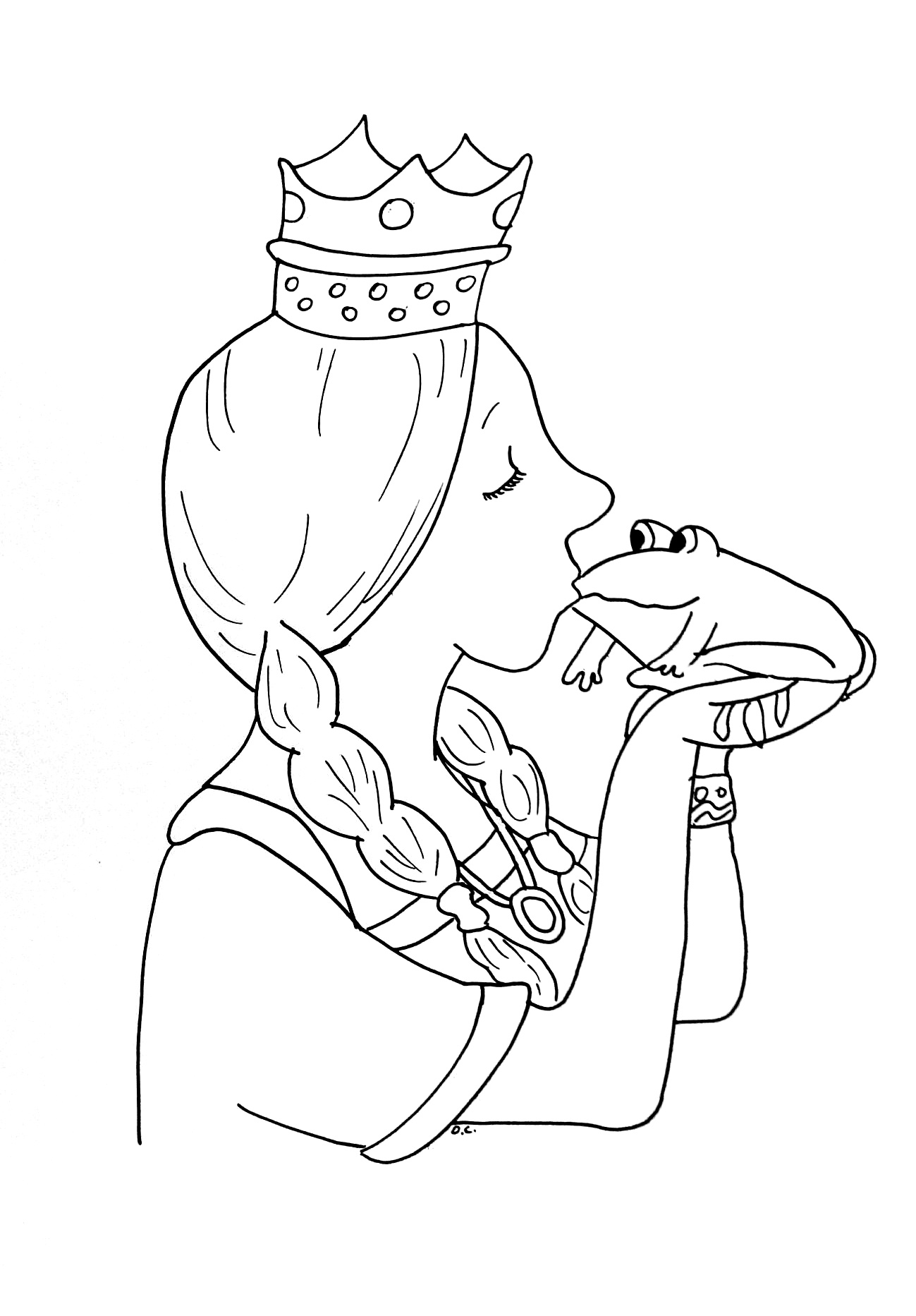 Princesses coloring page with few details for kids