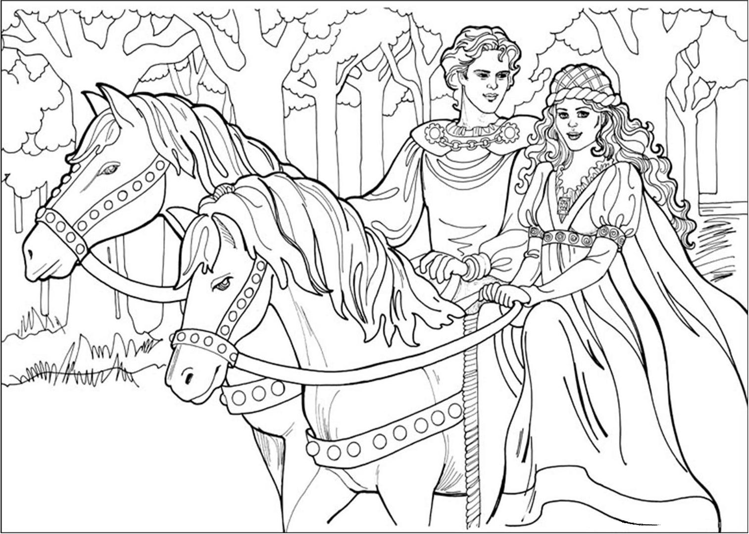 Princesses to color for children - Princesses Kids Coloring Pages