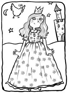 Coloring page princesses for children