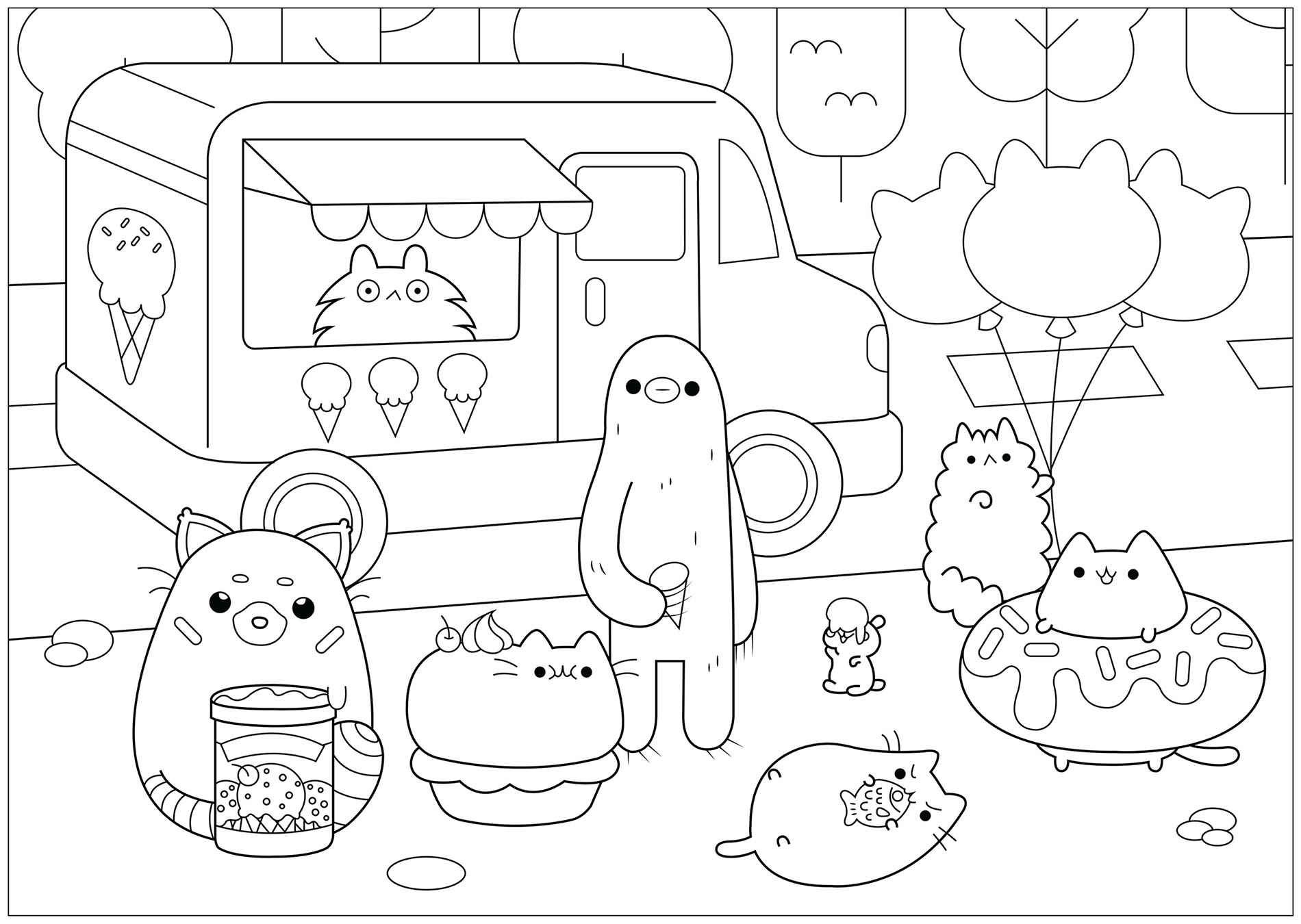 Simple Pusheen coloring page to print and color for free