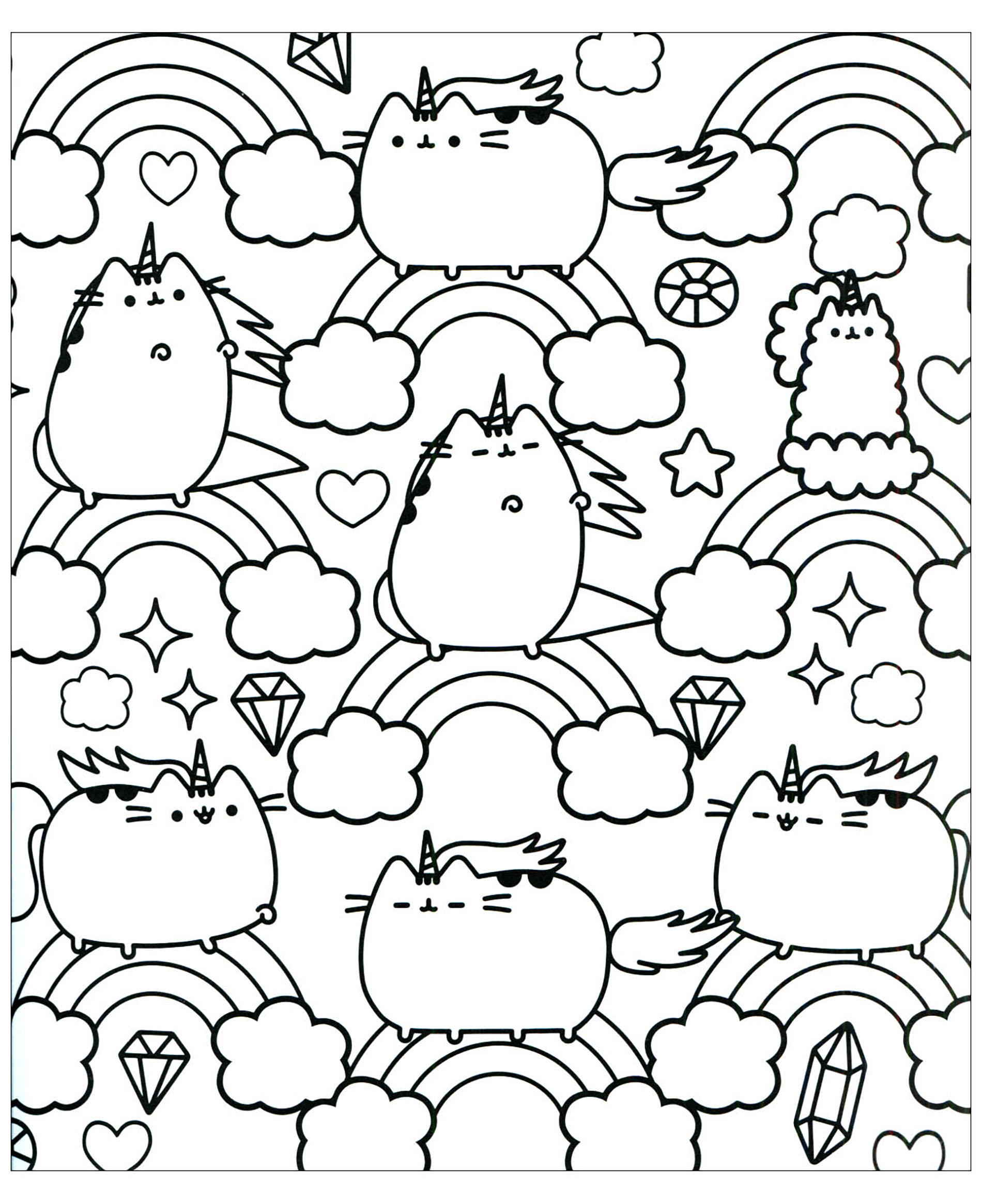 pusheen coloring pages to print Pusheen to color for kids   Pusheen Kids Coloring Pages pusheen coloring pages to print