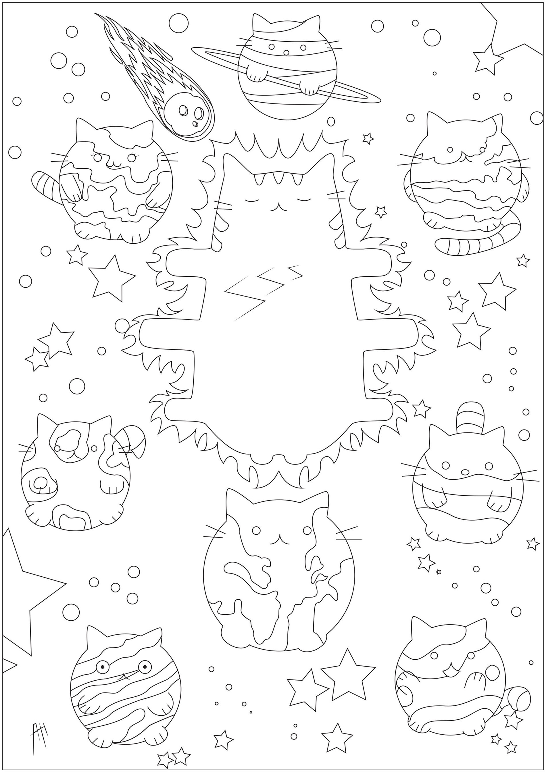 Cute free Pusheen coloring page to download