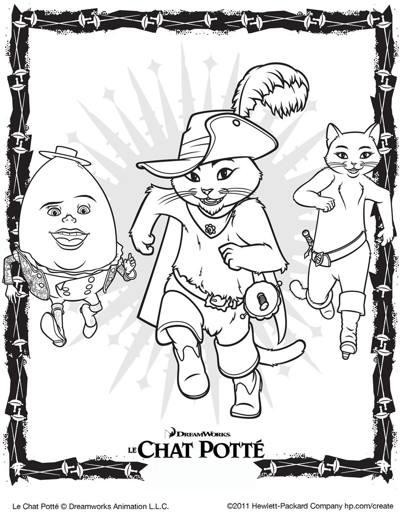 Simple Puss In Boots coloring page to download for free
