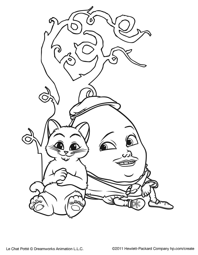 Incredible Puss In Boots coloring page to print and color for free