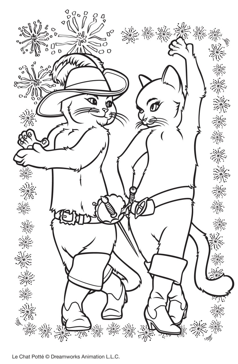 Cute free Puss In Boots coloring page to download