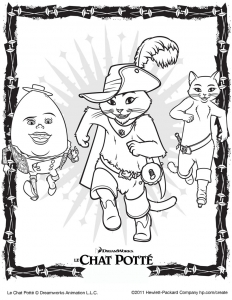 Coloring page puss in boots to color for children