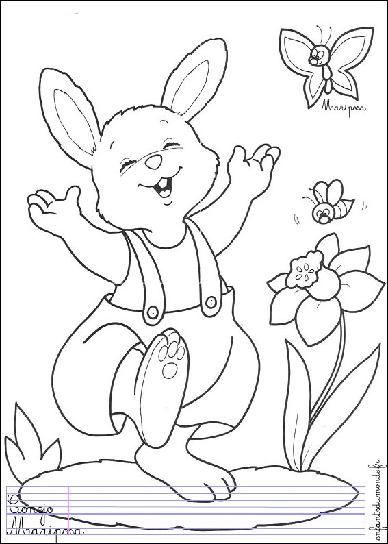 Simple free Rabbit coloring page to print and color