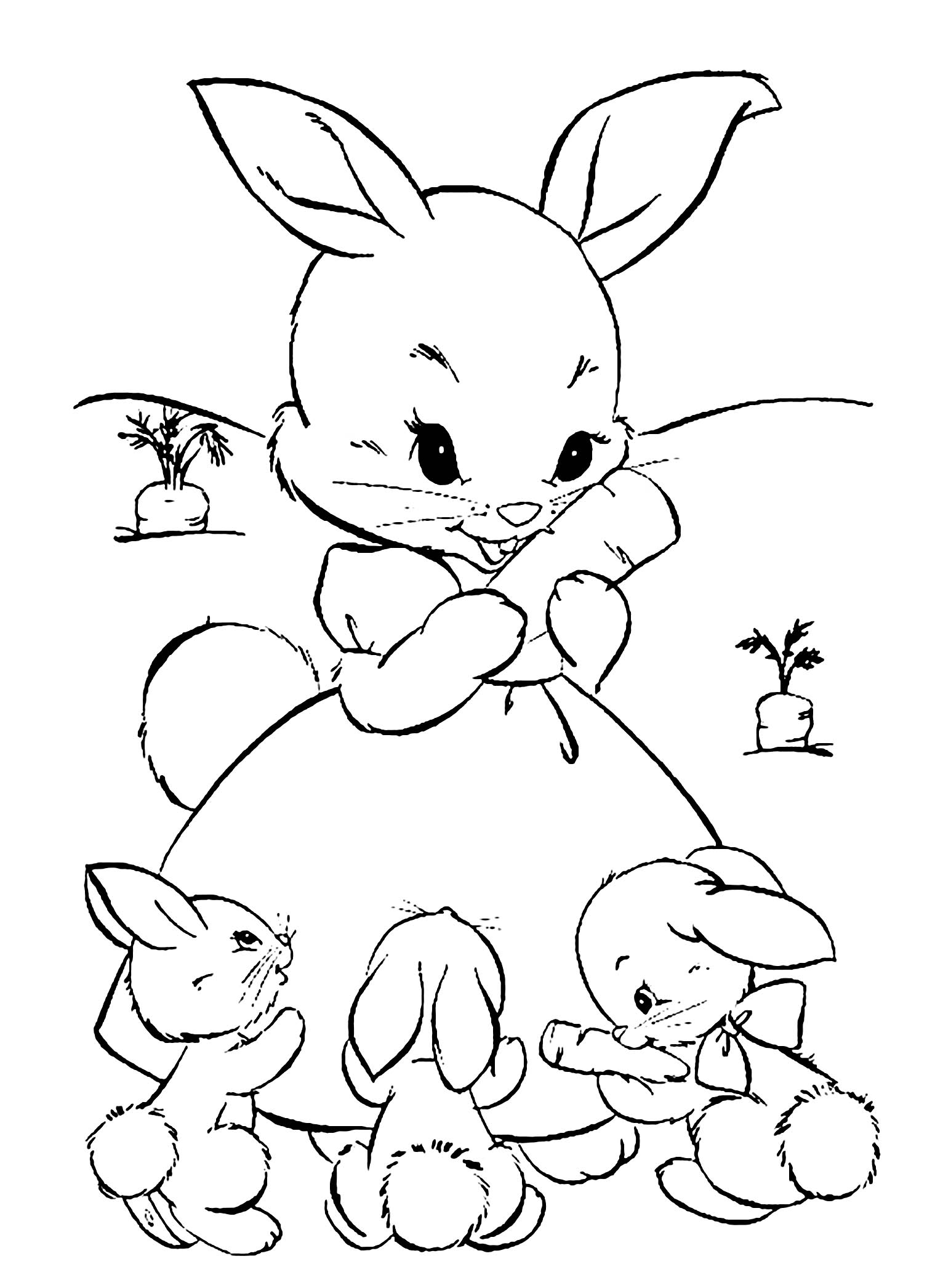 Beautiful Rabbit coloring page to print and color