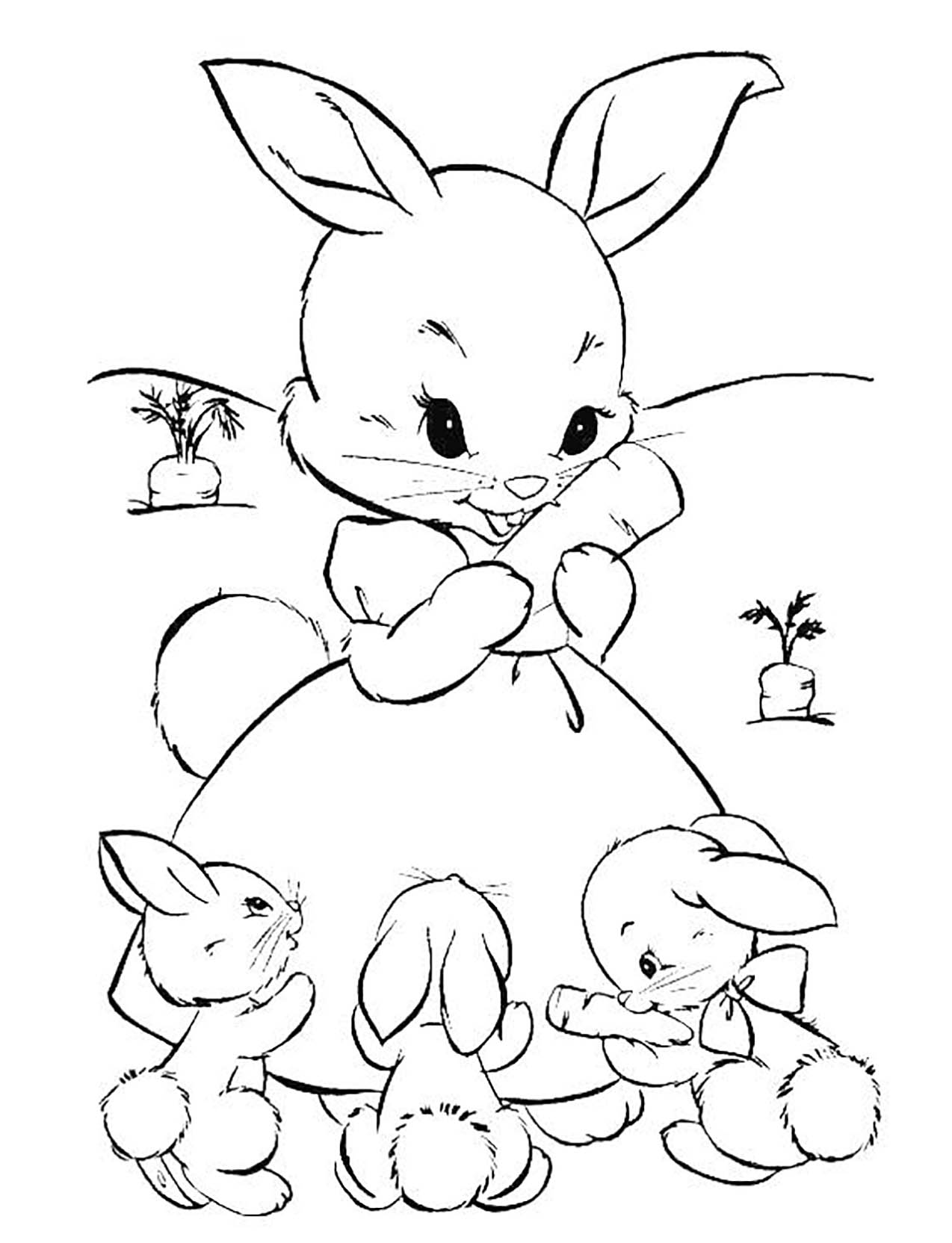 FREE Happy Easter Bunny Coloring Page and Card - Juju Sprinkles | 1664x1274