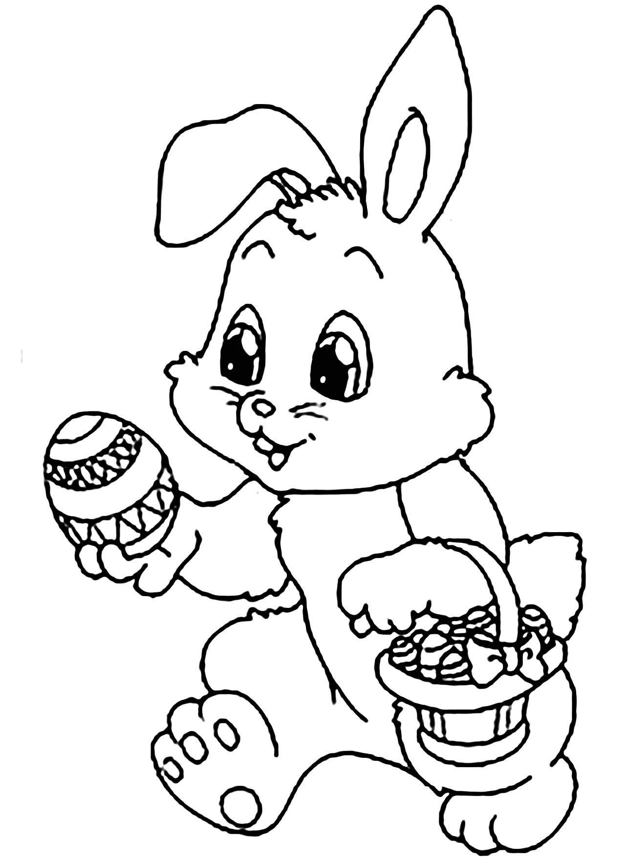 Rabbit coloring page to print and color for free
