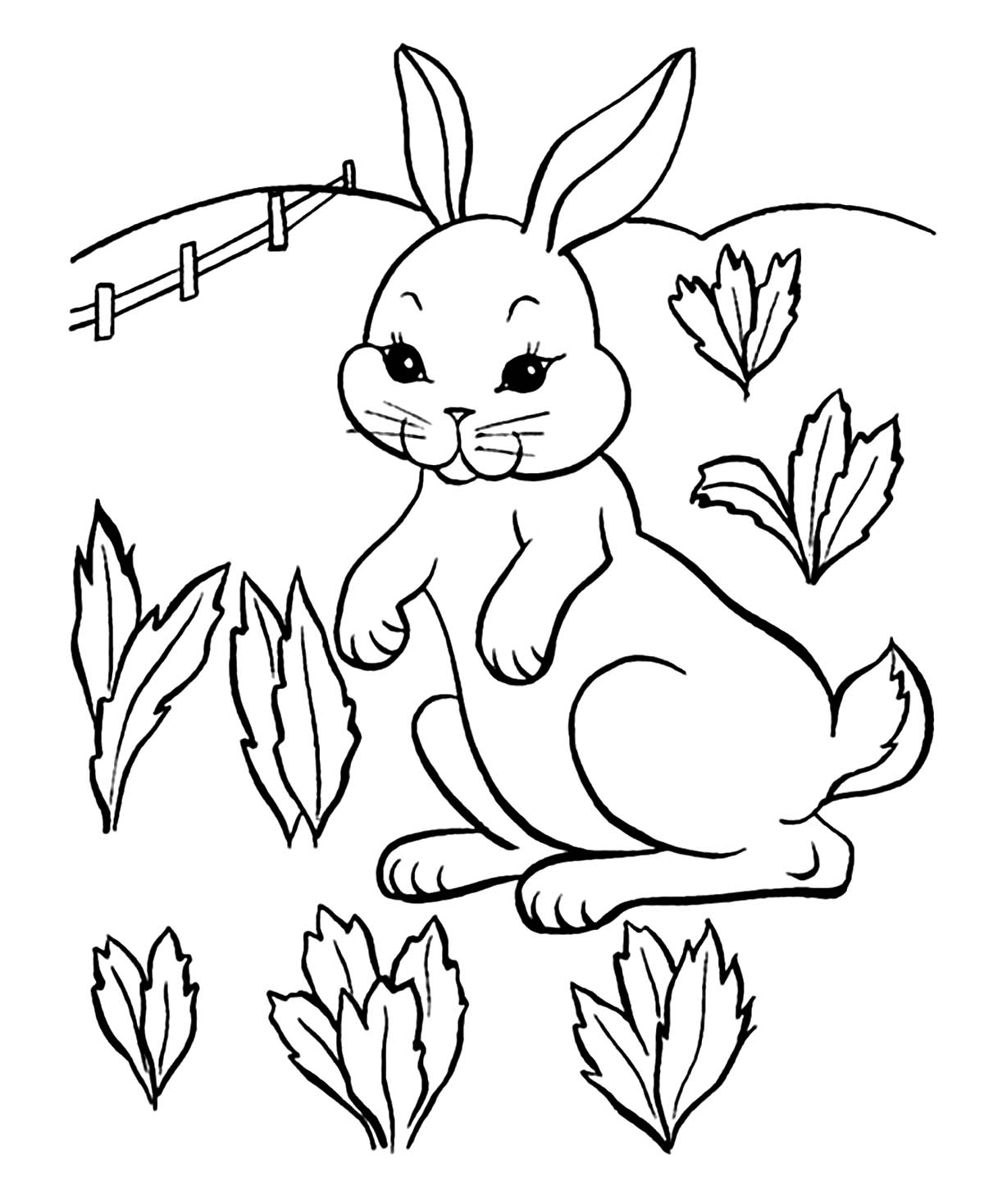 Simple Rabbit coloring page for children