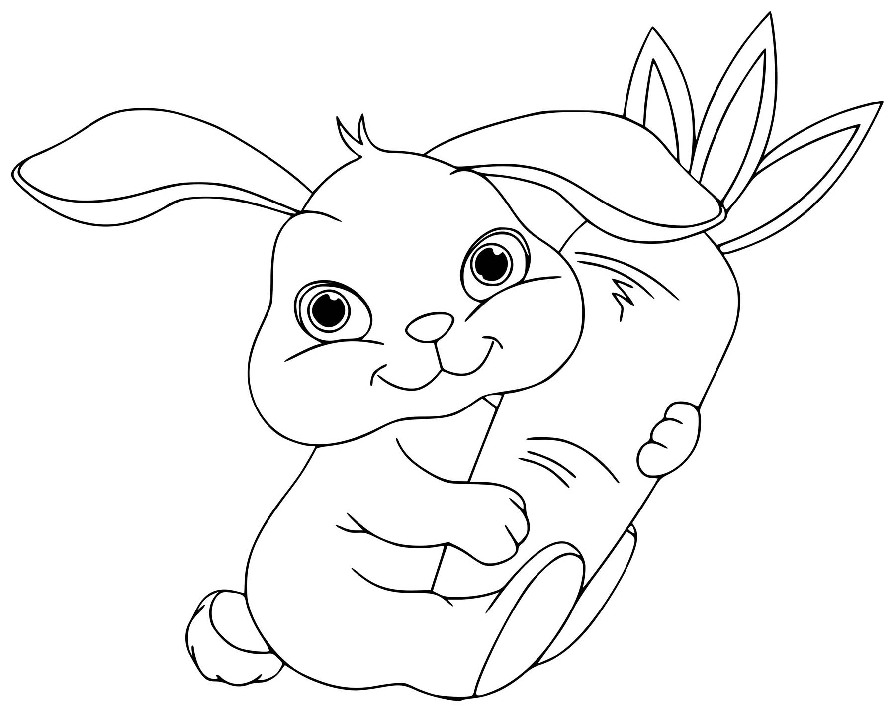 Funny Rabbit coloring page for children