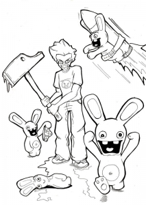 beautiful raving rabbids coloring page to print and color