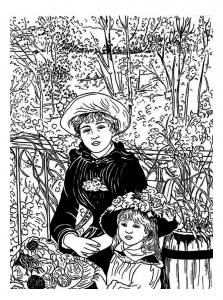 Coloring page auguste renoir for kids