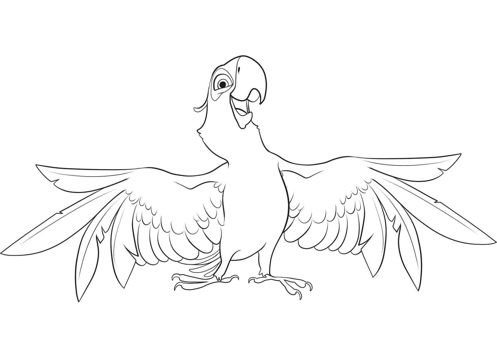 Cute free Rio coloring page to download